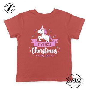 My First Christmas Kids T-Shirt Unicorn Christmas Youth Shirt Red