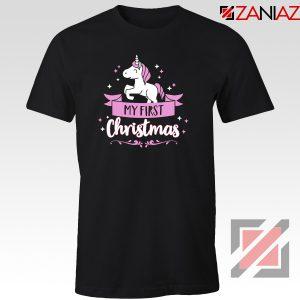 My first Christmas T-Shirt Unicorn Christmas T-Shirt Size S-3XL Black