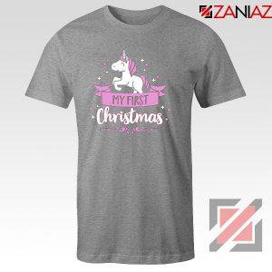 My first Christmas T-Shirt Unicorn Christmas T-Shirt Size S-3XL Sport Grey