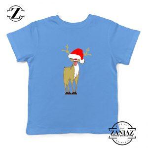 Naughty Reindeer Kids Tshirt Ugly Christmas Youth Shirt Size S-XL Light Blue
