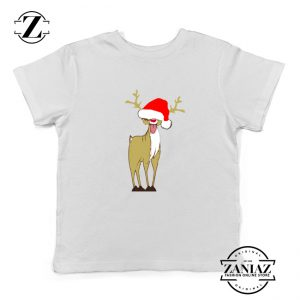 Naughty Reindeer Kids Tshirt Ugly Christmas Youth Shirt Size S-XL White