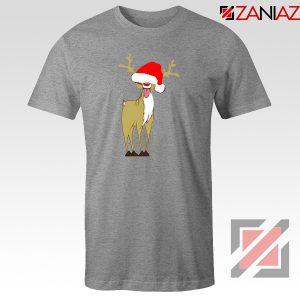 Naughty Reindeer Tshirt Ugly Christmas Tee Shirt Size S-3XL Sport Grey