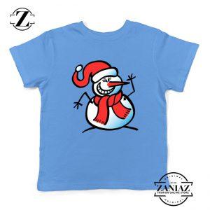 Naughty Snowman Youth Shirt Funny Christmas Kids Shirt Light Blue