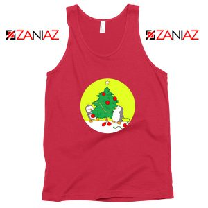 Penguins Decorating Tank Top Christmas Tree Tank Top Size S-3XL Red
