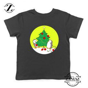 Penguins Decorating Youth Shirt Christmas Tree Kids Tshirt Size S-XL Black
