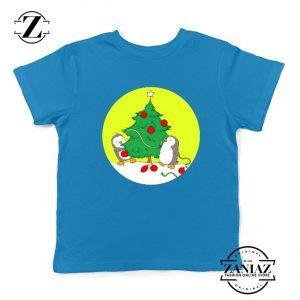Penguins Decorating Youth Shirt Christmas Tree Kids Tshirt Size S-XL Blue