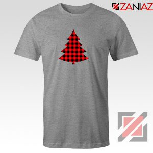 Plaid Christmas Tree T-Shirt Ugly Christmas Tee Shirt Size S-3XL Sport Grey