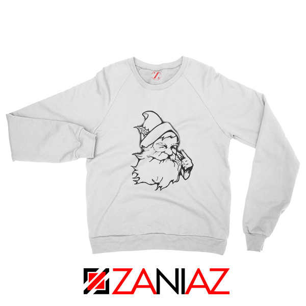 Santa Claus Face Sweatshirt Funny Christmas Sweatshirt Size S-2XL White