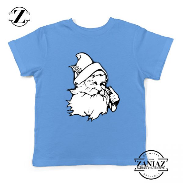 Santa Claus Face Youth Tshirt Funny Christmas Kids Tshirt Size S-XL Light Blue