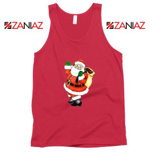 Santa Claus Waving Tank Top Happy Christmas Tank Top Size S-3XL Red
