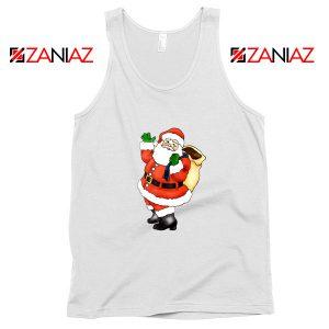 Santa Claus Waving Tank Top Happy Christmas Tank Top Size S-3XL White