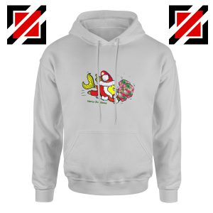 Santa Clause Fish Hoodie Funny Cute Christmas Hoodie Size S-2XL Sport Grey