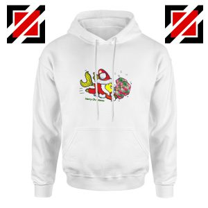 Santa Clause Fish Hoodie Funny Cute Christmas Hoodie Size S-2XL White