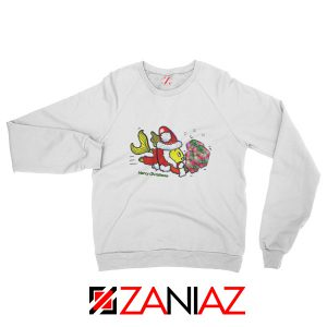 Santa Clause Fish Sweatshirt Cute Christmas Sweatshirt Size S-2XL White
