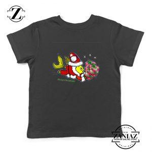 Santa Clause Fish Youth Shirt Cute Christmas Kids T-Shirt Size S-XL Black