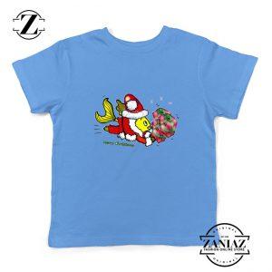 Santa Clause Fish Youth Shirt Cute Christmas Kids T-Shirt Size S-XL Light Blue