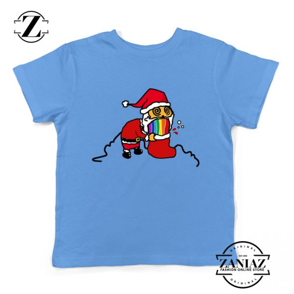 Santa Rainbow Kids Tshirt Funny Christmas Gift Youth Shirt Light Blue