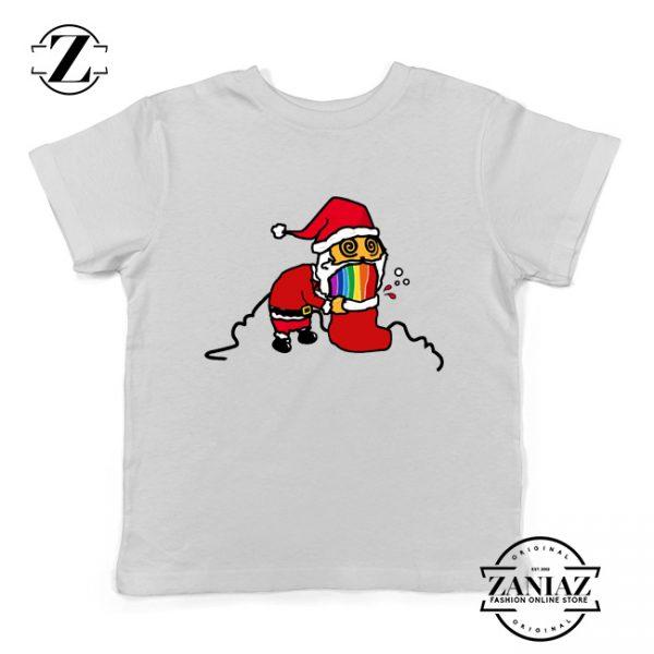 Santa Rainbow Kids Tshirt Funny Christmas Gift Youth Shirt White