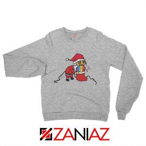 Santa Rainbow Sweatshirt Funny Christmas Gift Sweatshirt Size S-2XL Sport Grey