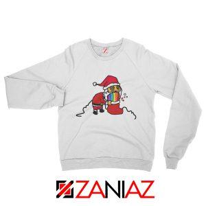 Santa Rainbow Sweatshirt Funny Christmas Gift Sweatshirt Size S-2XL White