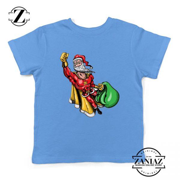 Super Santa Claus Kids Tshirt Ugly Christmas Youth Shirt Size S-XL Blue