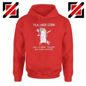 Teacher Unicorn Hoodie Dabbing Unicorn Teacher Hoodie Size S-2XL Red