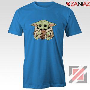 Baby Yoda Baby Groot Blue Tshirt
