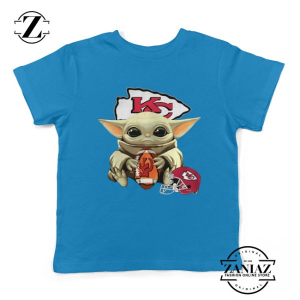 Baby Yoda Kansas City Chiefs Blue Kids Tee