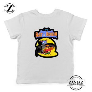 Bat and Robin White Kids Tshirt