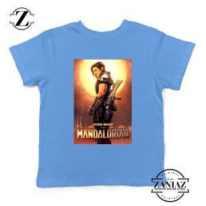 Cara Dune Poster Youth Tshirt Star Wars The Mandalorian Kids Tee Shirts Light Blue