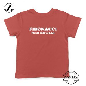 Fibonacci Kids Tshirt Mathematics Algebra Youth Tee Shirts S-XL Red