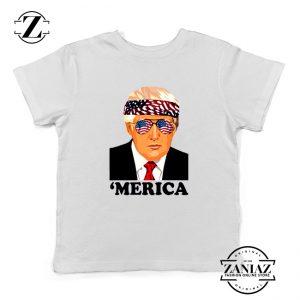 Merica Kids Tshirt Trump Patriotic Best Gift Youth Tee Shirts S-XL White