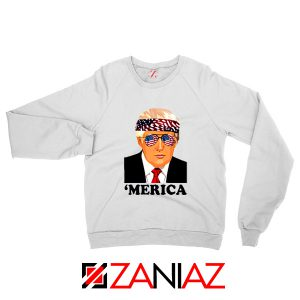 Merica Sweatshirt Trump Patriotic Best Gift Sweater S-2XL White