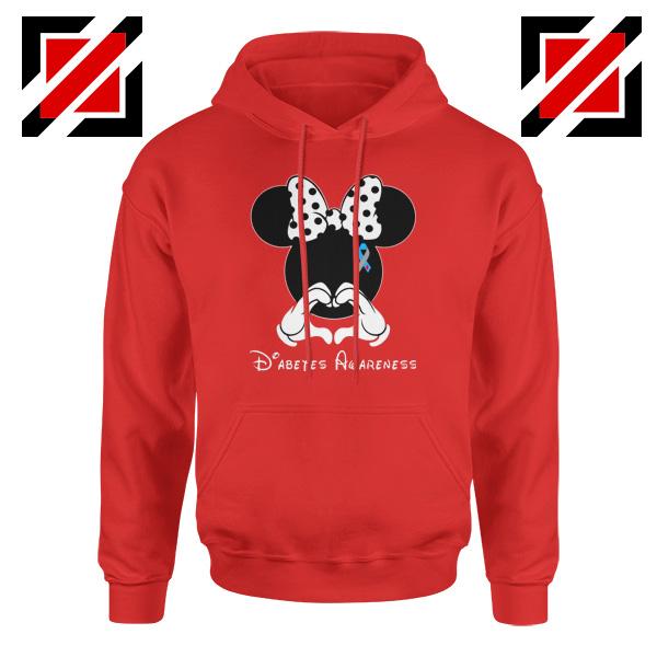 Minnie Mouse Hoodie Diabetes Awareness Gift Hoodies S-2XL Red