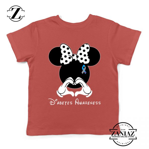 Minnie Mouse Kids Tshirt Diabetes Awareness Youth Tee Shirts S-XL Red
