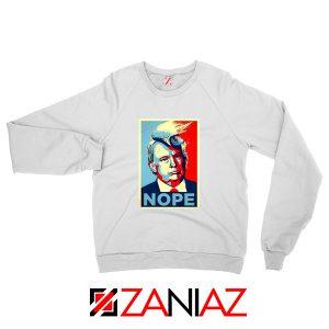 Nope Trump Sweatshirt Funny Trump Meme Sweater S-2XL White