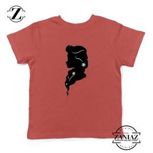 Princess Disney Kids Tshirt Elsa Frozen Youth Tee Shirts S-XL Red
