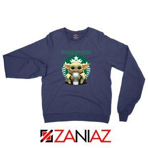 Baby Yoda Hug Starbucks Navy Sweatshirt