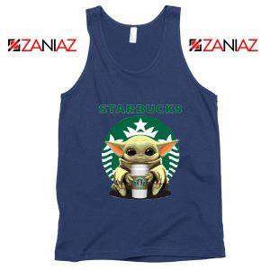 Baby Yoda Hug Starbucks Navy Tank Top
