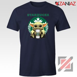Baby Yoda Hug Starbucks Navy Tee