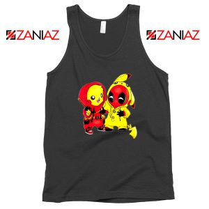 Baby Pikachu And Deadpool Black Tank Top