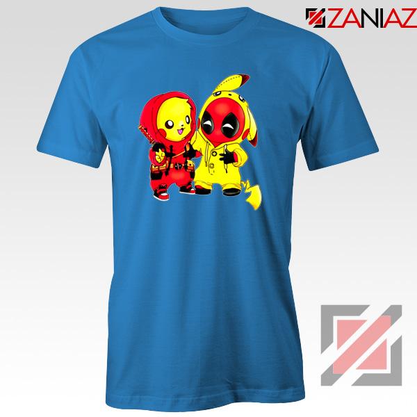 Baby Pikachu And Deadpool Blue Tshirt