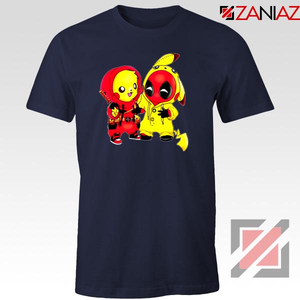 Baby Pikachu And Deadpool Navy Blue Tshirt