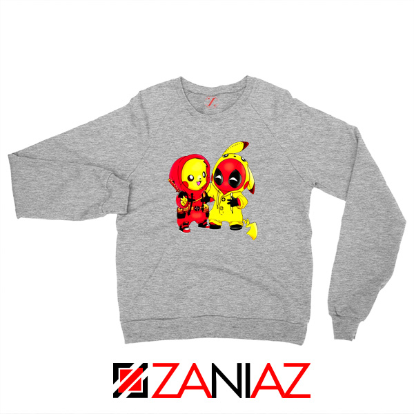 Baby Pikachu And Deadpool Sport Grey Sweater