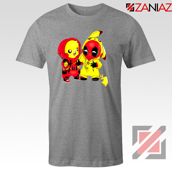 Baby Pikachu And Deadpool Sport Grey Tshirt