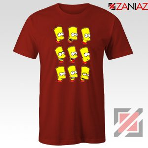 Bart Simpson Faces Red Tshirt