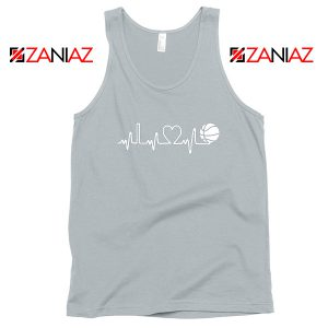 Basketball Heartbeat Sport Grey Tank Top