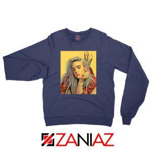 Billie Eilish Artist Navy Blue Sweater