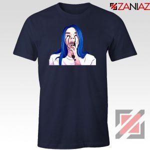 Billie Eilish Crying Navy Blue Tshirt