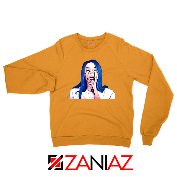 Billie Eilish Crying Orange Sweater